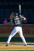 Andy Perez (13) of the Duke Blue Devils at bat against the Wake Forest Demon Deacons at Wake Forest Baseball Park on April 25, 2014 in Winston-Salem, North Carolina.  The Blue Devils defeated the Demon Deacons 5-2.  (Brian Westerholt/Four Seam Images)