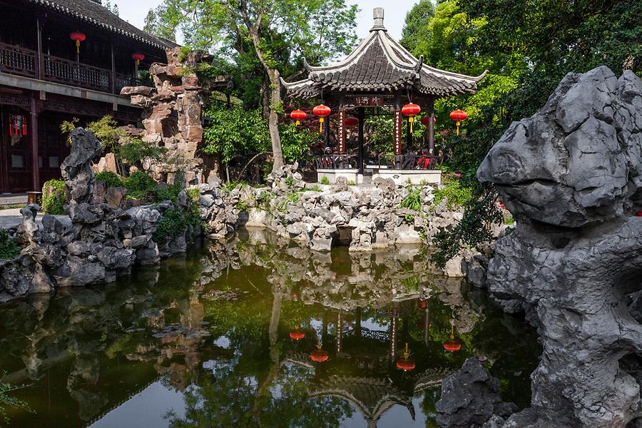 Yangzhou, Jiangsu, China.  Ge Garden, Pavilion and Pond.