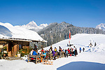 Oesterreich, Salzburger Land, Pinzgau, Maria Alm: die Jufenalm vorm Steinernen Meer | Austria, Salzburger Land, Pinzgau, Maria Alm: alpine pasture hut and restaurant Jufenalm, at background Steinernes Meer mountains