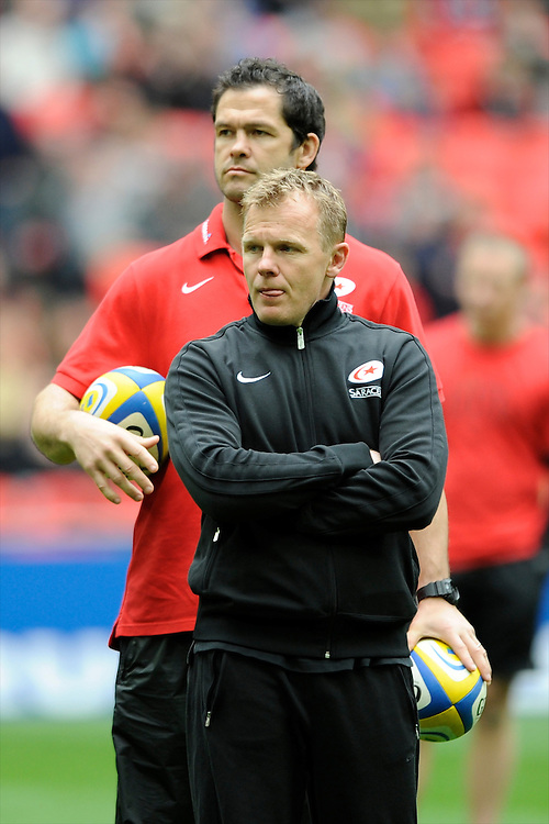 Mark McCall, Saracens Director of Rugby, and Andy Farrell, Saracens First Team Coach, during the Aviva Premiership match between Saracens and Harlequins at Wembley Stadium on Saturday 31st March 2012 (Photo by Rob Munro)