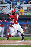 Batavia Muckdogs second baseman Giovanny Alfonzo (8) at bat during a game against the Mahoning Valley Scrappers on June 23, 2015 at Dwyer Stadium in Batavia, New York.  Mahoning Valley defeated Batavia 11-2.  (Mike Janes/Four Seam Images)