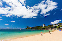 Swimmers, snorkelers, sunbathers and others enjoy Waimea Bay Beach Park on the North Shore of O'ahu.