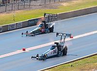 Jul 21, 2019; Morrison, CO, USA; NHRA top fuel driver Jordn Vandergriff (near) alongside Terry McMillen during the Mile High Nationals at Bandimere Speedway. Mandatory Credit: Mark J. Rebilas-USA TODAY Sports