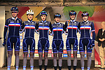 Team France at sign on for the start of the Women Elite Road Race of the UCI World Championships 2019 running 149.4km from Bradford to Harrogate, England. 28th September 2019.<br /> Picture: Eoin Clarke | Cyclefile<br /> <br /> All photos usage must carry mandatory copyright credit (© Cyclefile | Eoin Clarke)