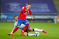 31st October 2020; Liberty Stadium, Swansea, Glamorgan, Wales; English Football League Championship Football, Swansea City versus Blackburn Rovers; Harvey Elliott of Blackburn Rovers is tackled by Jake Bidwell of Swansea City