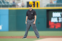 Second base umpire Brennan Miller works the International League game between the Scranton/Wilkes-Barre RailRiders and the Charlotte Knights at BB&T BallPark on August 14, 2019 in Charlotte, North Carolina. The Knights defeated the RailRiders 13-12 in ten innings. (Brian Westerholt/Four Seam Images)