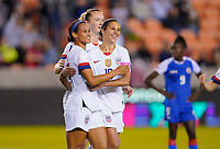 HOUSTON, TX - JANUARY 28: Lynn Williams #13 of the United States celebrates with teammates Samantha Mewis #3 and Carlie Lloyd #10 during a game between Haiti and USWNT at BBVA Stadium on January 28, 2020 in Houston, Texas.
