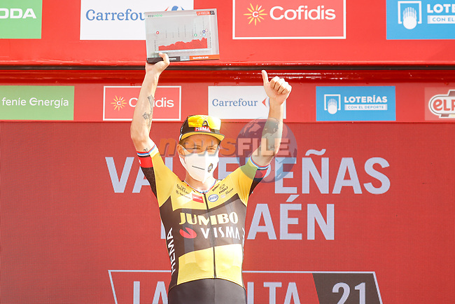 Primoz Roglic (SLO) Jumbo-Visma wins Stage 11 of La Vuelta d'Espana 2021, running 133.6km from Antequera to Valdepeñas de Jaén, Spain. 25th August 2021.     <br /> Picture: Luis Angel Gomez/Photogomezsport   Cyclefile<br /> <br /> All photos usage must carry mandatory copyright credit (© Cyclefile   Luis Angel Gomez/Photogomezsport)