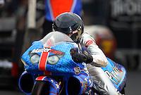 Jun. 1, 2012; Englishtown, NJ, USA: NHRA pro stock motorcycle rider Shawn Gann during qualifying for the Supernationals at Raceway Park. Mandatory Credit: Mark J. Rebilas-