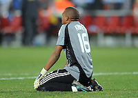 Itumeleng Khune of South Africa looks dejected at full-time. Brazil defeated South Africa 1-0 during the semi-finals of the FIFA Confederations Cup at Ellis Park Stadium in Johannesburg, South Africa on June 25, 2009..