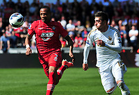 sport...swansea v southampton...liberty stadium...saturday 20th april 2013....<br /> <br /> <br /> Southampton's Nathaniel Clyne with Swansea's Pablo Hernandez making chase.