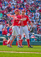 24 May 2015: Washington Nationals pitcher Drew Storen (right) celebrates a win with his catcher Jose Lobaton after a game against the Philadelphia Phillies at Nationals Park in Washington, DC. The Nationals defeated the Phillies 4-1 to take the rubber game of their 3-game weekend series. Mandatory Credit: Ed Wolfstein Photo *** RAW (NEF) Image File Available ***