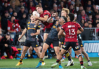 George Bridge takes a high ball during the 2021 Super Rugby Aotearoa final between the Crusaders and Chiefs at Orangetheory Stadium in Christchurch, New Zealand on Saturday, 8 May 2021. Photo: Joe Johnson / lintottphoto.co.nz