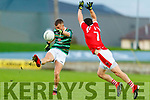 Thomas Kerins, St. Brendan's Board in action against Paul Murphy, East Kerry during the Kerry County Senior Football Championship Semi-Final match between East Kerry and St Brendan's at Austin Stack Park in Tralee, Kerry.