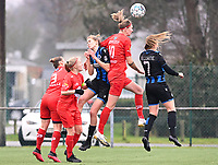 duel pictured with Stefanie Deville (3) of Woluwe , Jana Simons (8) of Woluwe , Marie Minnaert (13) of Club Brugge , Marie Bougard (10) of Woluwe and Elle Decorte (7) of Club Brugge during a female soccer game between Club Brugge Dames YLA and White Star Woluwe on the 12 th matchday of the 2020 - 2021 season of Belgian Scooore Womens Super League , saturday 30 January 2021  in Brugge , Belgium . PHOTO SPORTPIX.BE | SPP | DAVID CATRY