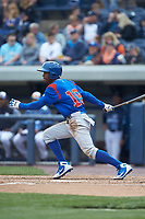 Roberto Caro (18) of the South Bend Cubs follows through on his swing against the West Michigan Whitecaps at Fifth Third Ballpark on June 10, 2018 in Comstock Park, Michigan. The Cubs defeated the Whitecaps 5-4.  (Brian Westerholt/Four Seam Images)