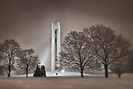 Carillon Bell Tower at Carillon Park on snowy night