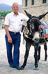 Omodos, near Troodos, old man with donkey, alter Mann mit Esel, Cyprus, Zypern