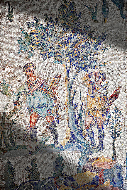 Hunters looking for birds. Roman mosaic floor of the Room of The Small Hunt, no 25 - Roman mosaics at the Villa Romana del Casale ,  circa the first quarter of the 4th century AD. Sicily, Italy. A UNESCO World Heritage Site.