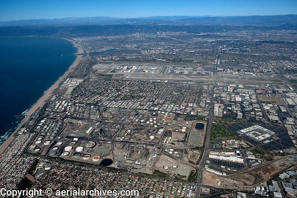 aerial photograph of Chevron Refinery, El Segundo, California, Los Angeles International Airport  (LAX) in the background