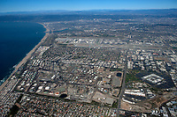 aerial photograph of Chevron Refinery, El Segundo, California, Los Angeles International Airport  (LAX) in the background