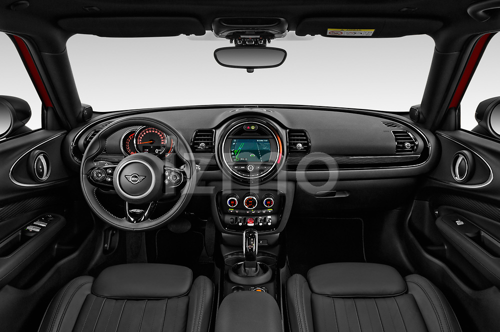 Stock photo of straight dashboard view of a 2020 Mini Clubman S 5 Door Wagon