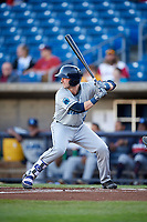 Lake County Captains catcher Logan Ice (33) at bat during a game against the Quad Cities River Bandits on May 6, 2017 at Modern Woodmen Park in Davenport, Iowa.  Lake County defeated Quad Cities 13-3.  (Mike Janes/Four Seam Images)