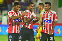 BARRANQUILLA- COLOMBIA, 12-08-2018: Gabriel Fuentes jugador del Atlético Junior  celebra su gol contra el Atlético Huila   durante partido por la fecha 4 de la Liga Águila II 2018 jugado en el estadio Romelio Martínez de la ciudad de Barranquilla. /Gabriel Fuentes player of Atletico Junior celebrates his goal against  of Atletico Huila  during the match for the date 4 of the Liga Aguila II 2018 played at the Romelio Martinez Stadium in Barranquilla  city. Photo: VizzorImage / Alfonso Cervantes / Contribuidor