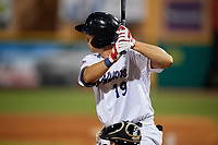 Pensacola Blue Wahoos Alex Kirilloff (19) during a Southern League game against the Biloxi Shuckers on May 3, 2019 at Admiral Fetterman Field in Pensacola, Florida.  Pensacola defeated Biloxi 10-8.  (Mike Janes/Four Seam Images)