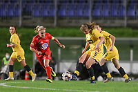Woluwe's Jana Simons (8) (L) and Standard's Aster Janssens (5) (R) in action during a female soccer game between FC Femina WS Woluwe and Standard Femina de Liege on the fourth match day of the 2020 - 2021 season of Belgian Womens Super League , Friday 8th of October 2020  in Liege , Belgium . PHOTO SPORTPIX.BE   SPP   SEVIL OKTEM