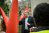 Len McCluskey, Unite General Secretary.  London bus drivers  protest outside Parliament and call for strike action for collective bargaining rights and equal pay.