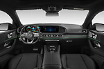 Stock photo of straight dashboard view of 2021 Mercedes Benz GLE-Coupe 350-e-AMG-Line 5 Door SUV Dashboard