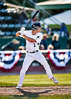 29 May 2021: Vermont Lake Monsters outfielder Andrew Bergeron, from Ponte Verda Beach, FL, at bat against the Norwich Sea Unicorns at Centennial Field in Burlington, Vermont. The Lake Monsters defeated the Unicorns 6-3 in their FCBL Home Opener, the first home game played at Centennial Field post-Covid-19 pandemic. Mandatory Credit: Ed Wolfstein Photo *** RAW (NEF) Image File Available ***
