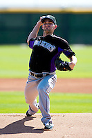 Colorado Rockies minor league pitcher Tyler Chatwood #31 during an instructional league game against the San Francisco Giants at the Salt River Flats Complex on October 4, 2012 in Scottsdale, Arizona.  (Mike Janes/Four Seam Images)
