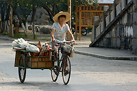 Woman riding a bicycle with a trailer going to the village market  early in the morning, Yangshuo, Guangxi, China.