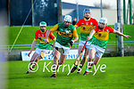 Mikey Boyle, Kerry in action against Aaron Amond, Carlow during the Joe McDonagh hurling cup fourth round match between Kerry and Carlow at Austin Stack Park on Saturday.