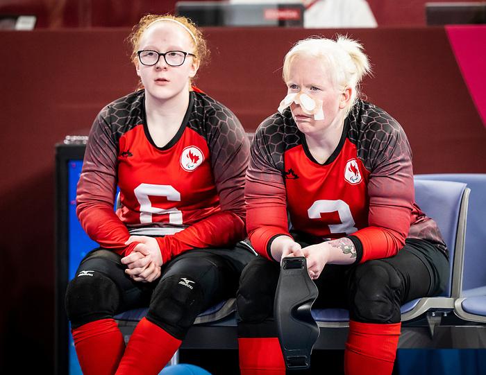 Brieann Baldock, Whitney Bogart, Tokyo 2020 - Goalball.<br /> Canada takes on Russia in the preliminary round // Le Canada affronte la Russie au tour préliminaire. 25/08/2021.