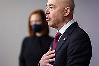Homeland Security Secretary Alejandro Mayorkas talks to reporters during the daily press briefing in the Brady Press Briefing Room of the White House on Monday, March 1, 2021 in Washington, DC. <br /> Credit: Oliver Contreras / Pool via CNP /MediaPunch