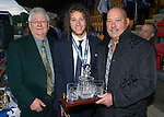St Johnstone FC Player of the Year Awards...18.05.14<br /> Blues Boys Player of the Year Award to Stevie May presented by Jimmy Robertson, also pictured is Stevie May's dad (right)<br /> Picture by Graeme Hart.<br /> Copyright Perthshire Picture Agency<br /> Tel: 01738 623350  Mobile: 07990 594431