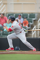 Kyle Martin (27) of the Lakewood BlueClaws follows through on his swing against the Kannapolis Intimidators at Intimidators Stadium on July 14, 2015 in Kannapolis, North Carolina.  The Intimidators defeated the BlueClaws 8-2.  (Brian Westerholt/Four Seam Images)