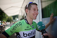 Bauke Mollema (NLD/Belkin) interviewed by Sporza after it got out that he signed with Trek Factory Racing for the next season<br /> <br /> 2014 Tour de France<br /> stage 11: Besançon - Oyonnax (187km)