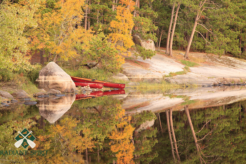 """""""Fall Landing""""<br /> Our canoes await their next outing on our Fall wilderness trip in the Lac LaCroix area. Boundary Waters Canoe Area Wilderness (BWCAW)."""