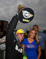 Feb 22, 2015; Chandler, AZ, USA; NHRA top fuel driver Tony Schumacher celebrates after winning the Carquest Nationals at Wild Horse Pass Motorsports Park. Mandatory Credit: Mark J. Rebilas-