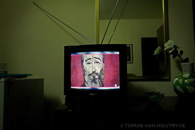 Cuban television shows a painting of Fidel Castro by Ecuadorian artist Oswaldo Guayasamin in Havana, Cuba on 28 November 2006.<br />