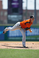 Bowie Baysox starting pitcher Jarett Miller (12) in action against the Richmond Flying Squirrels at The Diamond on May 25, 2015 in Richmond, Virginia.  The Flying Squirrels defeated the Baysox 6-1. (Brian Westerholt/Four Seam Images)