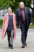 LEGAL NOTICE: THERE IS NOW A COURT ORDER PREVENTING THE IDENTIFICATION OF DANIELLE JOHN AND ANY PUBLICATION OF HER PICTURES Pictured: Byron John (R), Bradley's father with partner Kate Pickard arrive at the Coroner's Court in Llanelli, Wales, UK. Tuesday 29 June 2021<br /> Re: A verdict for a Coroner's inquest into the death of 14 year old Bradley John, who was found dead by his sister at his school, has been read out at the Coroner's Court in Llanelli, Wales, UK.<br /> Talented young horse rider Bradley John, 14, was found hanged in the school toilets by his younger sister Danielle (DANIELLE JOHN CANNOT BE IDENTIFIED AND/OR NAMED) at the 500-pupils St John Lloyd Roman Catholic school in Llanelli, South Wales in September 2018.<br /> Bradley's family claim he had been bullied for two years after being diagnosed with Attention Deficit Hyperactivity Disorder.<br /> He went missing during lessons and was found in the toilet cubicle by his sister Danielle (DANIELLE JOHN CANNOT BE IDENTIFIED AND/OR NAMED), who was 12 at the time.