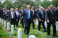 President Donald J. Trump and Vice President Mike Pence visit Section 60 of Arlington National Cemetery, Arlington, Va., May 29, 2017. (U.S. Army photo by Elizabeth Fraser / Arlington National Cemetery / released)