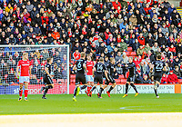 Leeds United celebrate the opening goal with Samu Saiz during the Sky Bet Championship match between Barnsley and Leeds United at Oakwell, Barnsley, England on 25 November 2017. Photo by Stephen Buckley / PRiME Media Images.