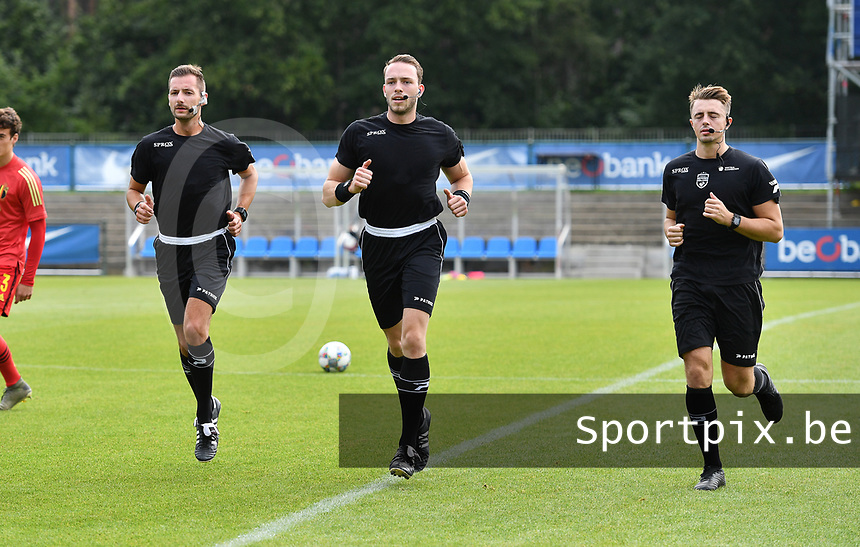 referees pictured with Tom Stevens (middle) , Bryan Bijnens (left) and Michele Seeldraeyers during a friendly soccer game between the national teams Under19 Youth teams of Belgium and Germany on tuesday 8 th of September 2020  in Genk , Belgium . PHOTO SPORTPIX.BE | SPP | DAVID CATRY