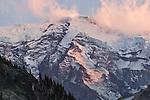 Mount Rainier, sumit from the Wonderland Trail, Mount Rainier National Park, Washington State, Pacific Northwest, U.S.A., sunset,
